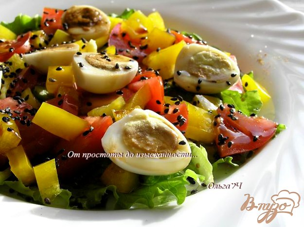 Рецепт Овощной салат с перепелиными яйцами
