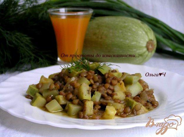 фото рецепта: Чечевица, томленная в тыквенном напитке, с кабачками