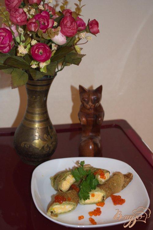 Блинчики со шпитаном , сыром и икрой