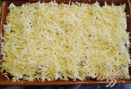 Цветная капуста с грибами, молоком и сыром.