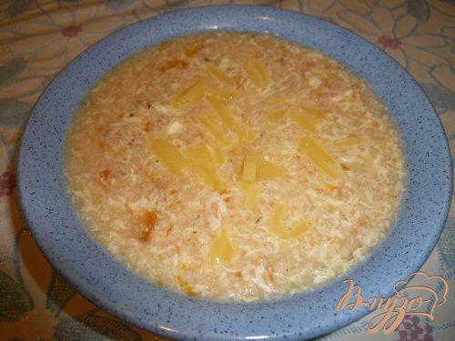 Супчик овсяный с яйцом и сыром