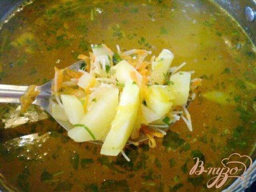 Суп с овсяными пластивцами и вермишелью