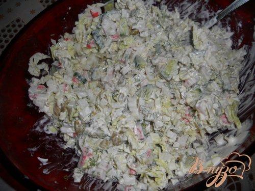 Салат с крабовым мясом и оливками