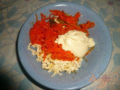 Конвертики из лаваша с морковью по-корейски