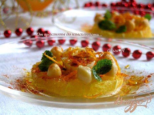 Салат с нутом, апельсинами и перепелиными яйцами