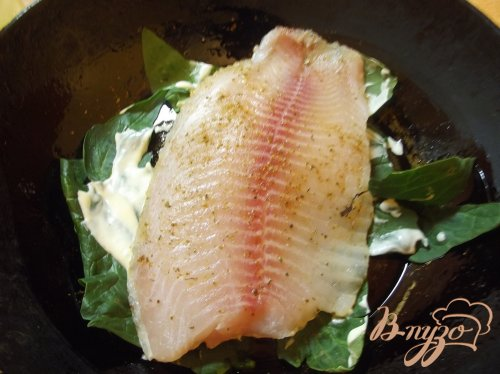 Рыба в шпинате