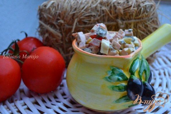 Рецепт Яичный салат с маслинами и молочной колбасой