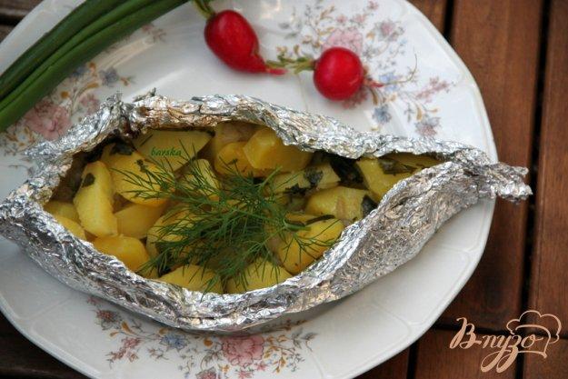 Рецепт Картофель с салом и зеленью