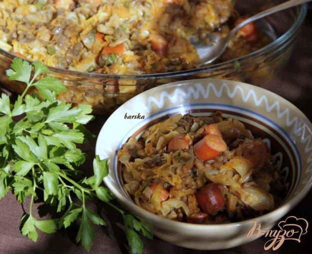 Рецепт Капуста с чечевицей и колбасками