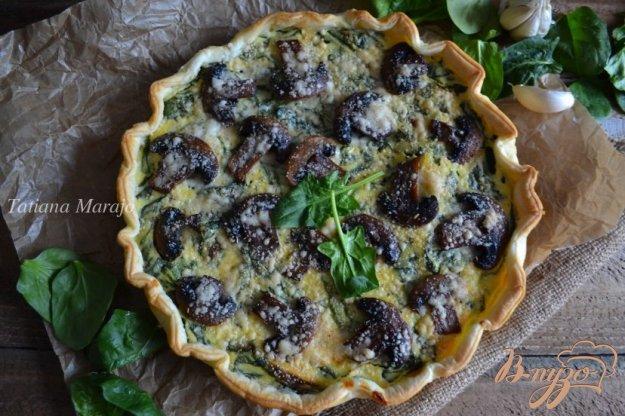 Рецепт Пирог со шпинатом, рикоттой и грибами