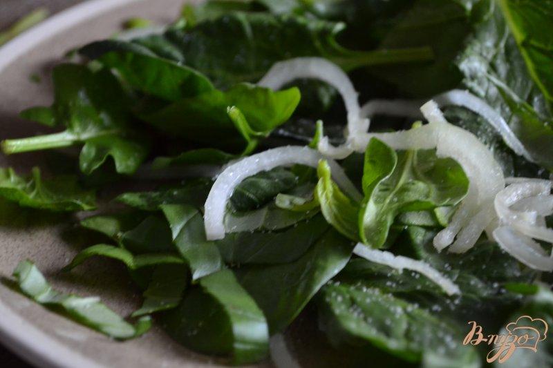 Фото приготовление рецепта: Шпинатный салат с ветчиной , яблоком и клубникой шаг №1