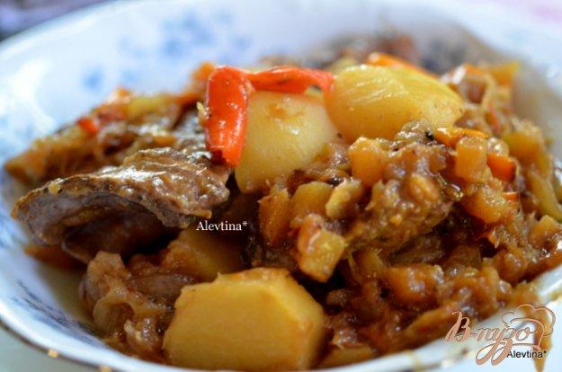 Рецепт Говядина тушеная с ананасами