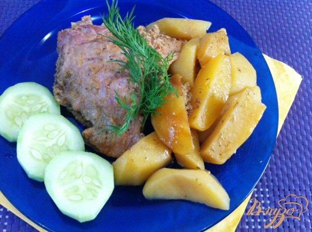 Рецепт Куриные бедрышки с картофелем, запеченные в пакете