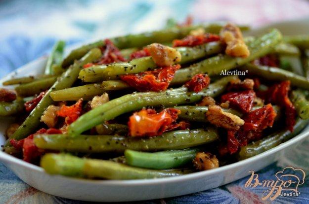 Рецепт Зеленая фасоль с вялеными помидорами и грецкими орехами
