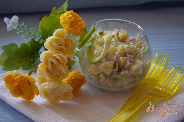 Рецепт Салат с ветчиной и луком пореем