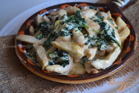 фото рецепта: Куриные кусочки со шпинатом