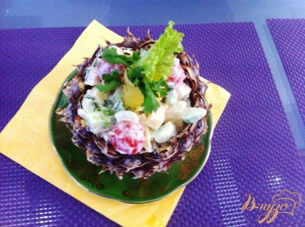 Рецепт Салат овощной с курицей и ананасом