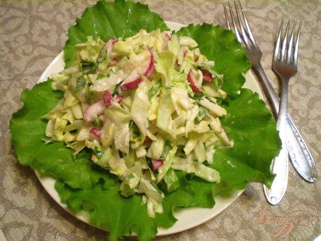 Фото приготовление рецепта: Овощной салат с яблоком и майонезом шаг №9