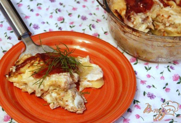 Рецепт Гратин из картофеля с копченой семгой и беконом