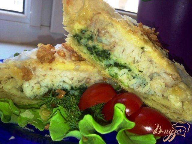 Фото приготовление рецепта: Конвертики из теста Фило с рыбой и шпинатом шаг №18