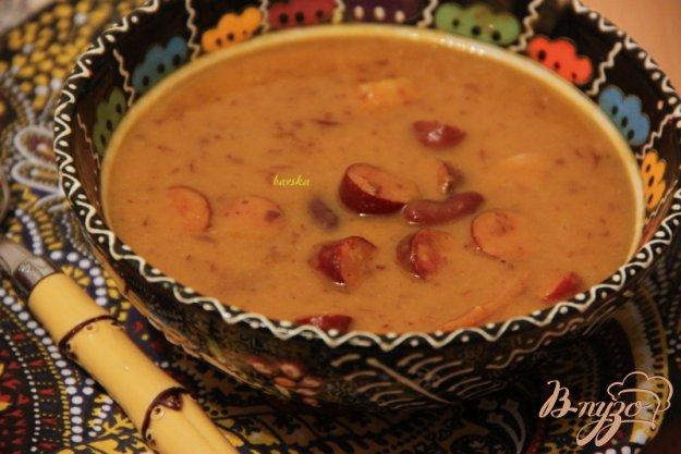 фото рецепта: Суп с тыквой, фасолью и колбасками