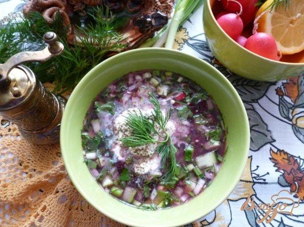 Рецепт Окрошка со свеклой на мясном бульоне