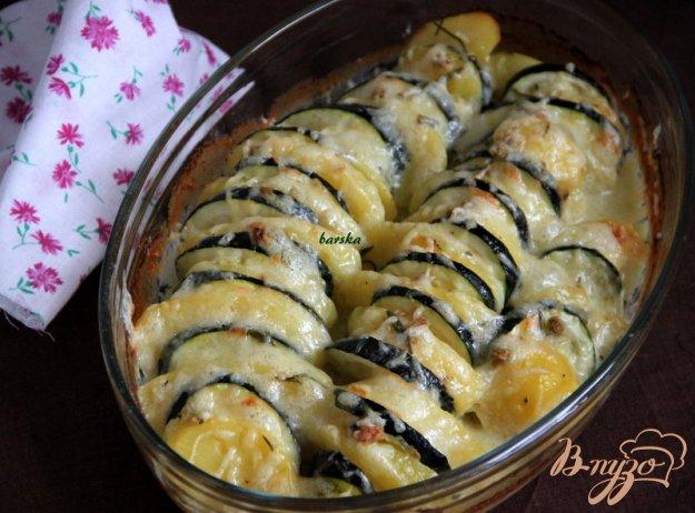 Рецепт Пикантный гратин из картофеля и кабачка