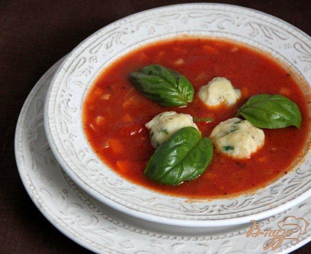 фото рецепта: Томатный суп с травами и творожными шариками