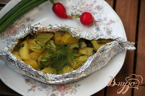 Картофель с салом и зеленью