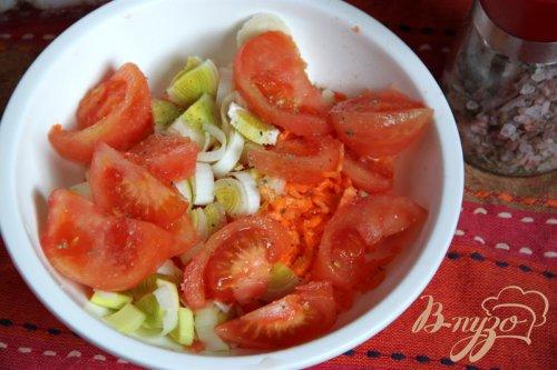 Треска маринованная,  запечённая с овощами