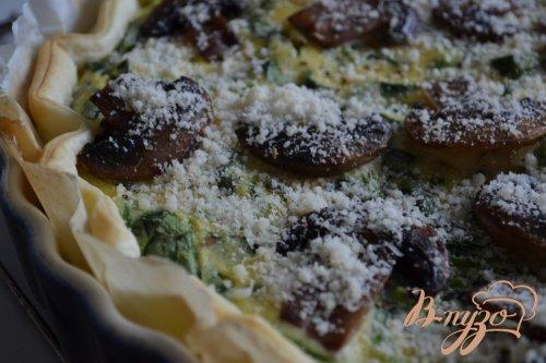 Пирог со шпинатом, рикоттой и грибами
