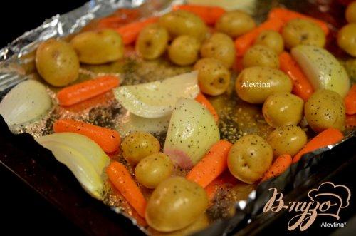 Курица с овощами в горчичном-вином соусе