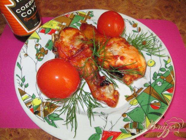 Голень курицы в маринаде из соевого соуса