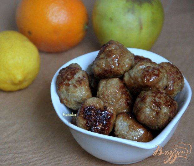 Тефтельки с яблоком в цитрусовой глазури