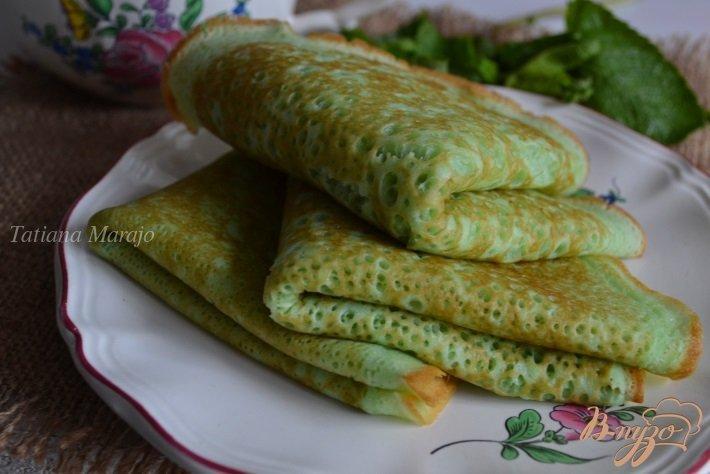 Фото приготовление рецепта: Мятные блинчики шаг №6