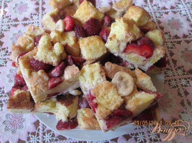 Рецепт Бисквит с клубникой и бананом