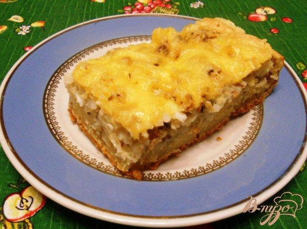 Рецепт Быстрый пирог с консервами и рисом