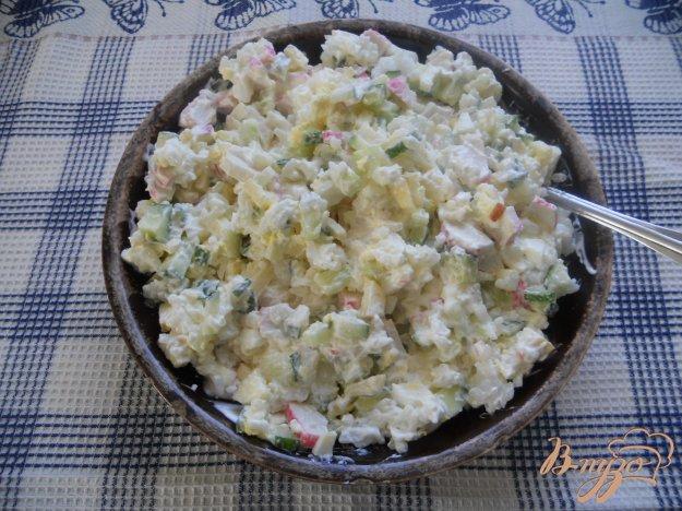 Рецепт Салат сытный с крабовыми палочками и рисом