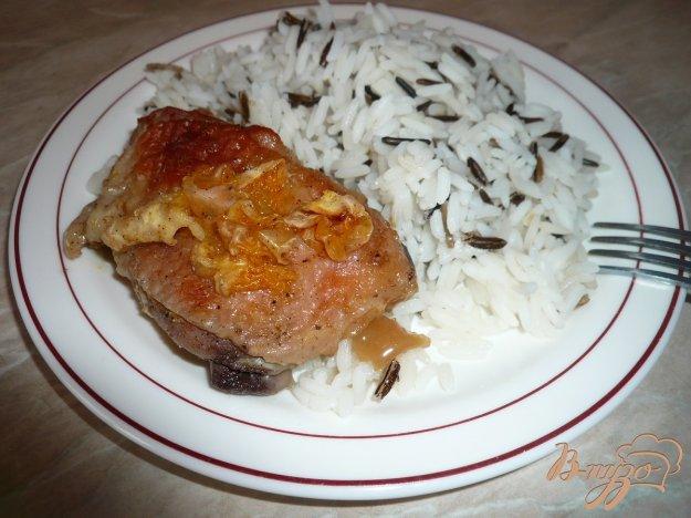 фото рецепта: Курица, запеченная с мандаринами и медом