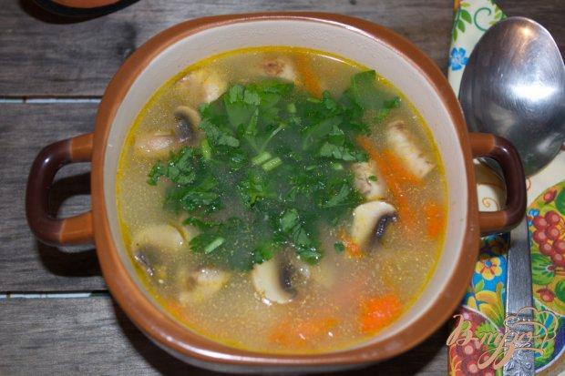 Овсяный суп с грибами и курицей