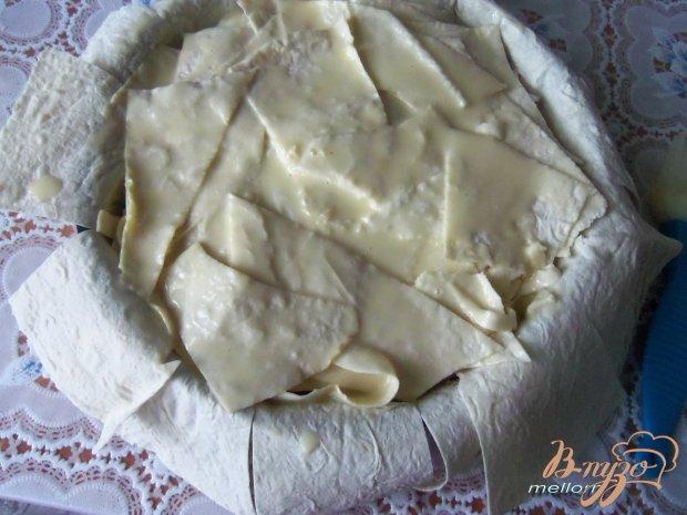 Пирог из лаваша с творожной массой и грушами