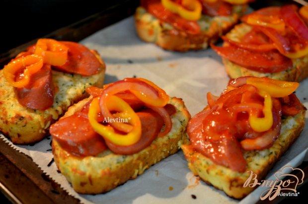 Мини пицца на французской булке