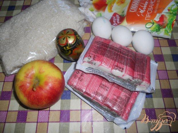 Салат сытный с крабовыми палочками и рисом