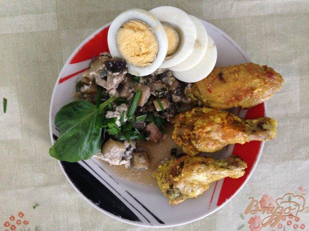 Рецепт Куриные крылья с тушенными грибами в сливках