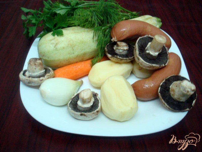 Фото приготовление рецепта: Овощной суп с кабачками и сардельками шаг №1
