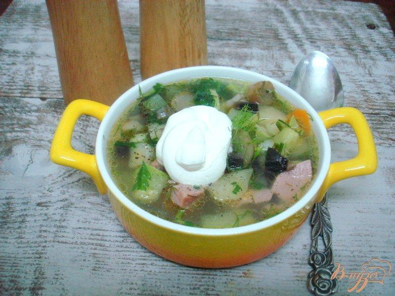 Фото приготовление рецепта: Овощной суп с кабачками и сардельками шаг №11