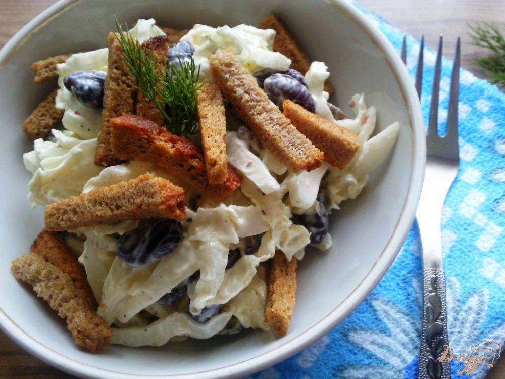 Фото приготовление рецепта: Салат из фасоли и грибов шаг №5