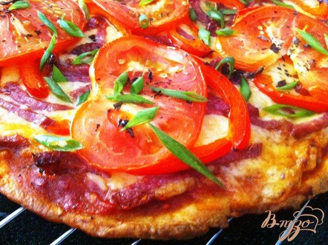 Фото приготовление рецепта: Пицца с салями шаг №13