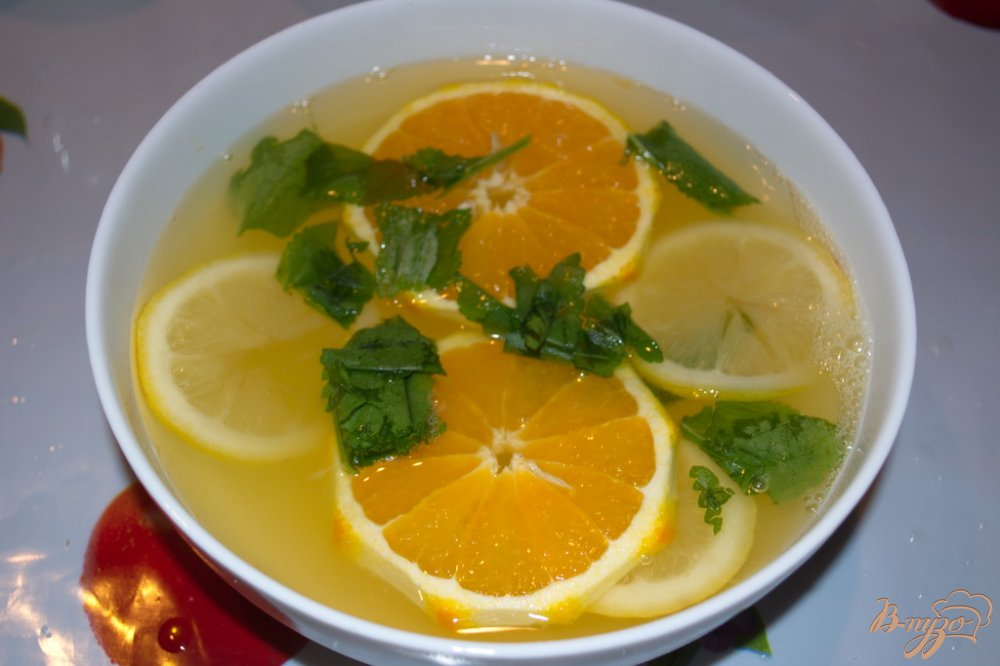 Лимонад с мятой и лимоном апельсином