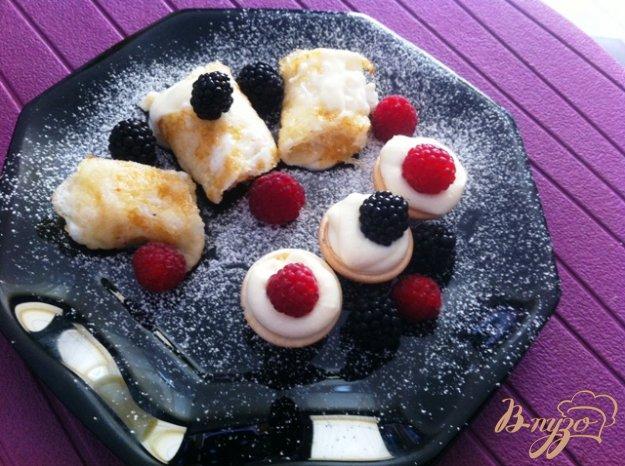 Рецепт Белковые блинчики с сырным кремом.